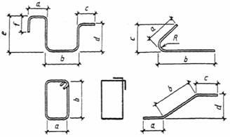 размеры гнутых стержней указывают по наружным, а хомутов - по внутренним граням