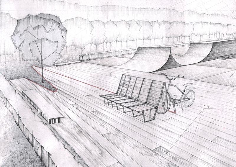 Скамейка с функцией велостоянки. 2