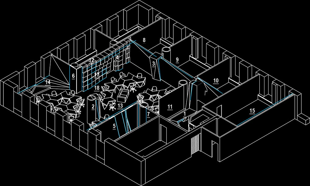 Axonometric view of the office