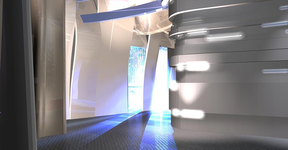 концепция гостиной, вид на коридор